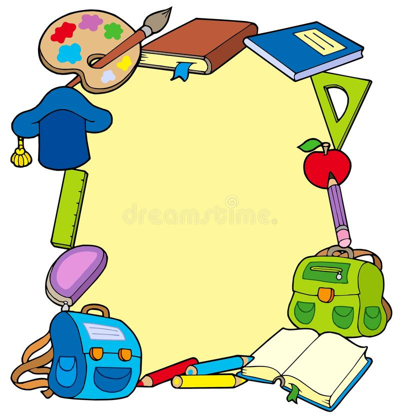 Quadro dos objetos da escola ilustração do vetor
