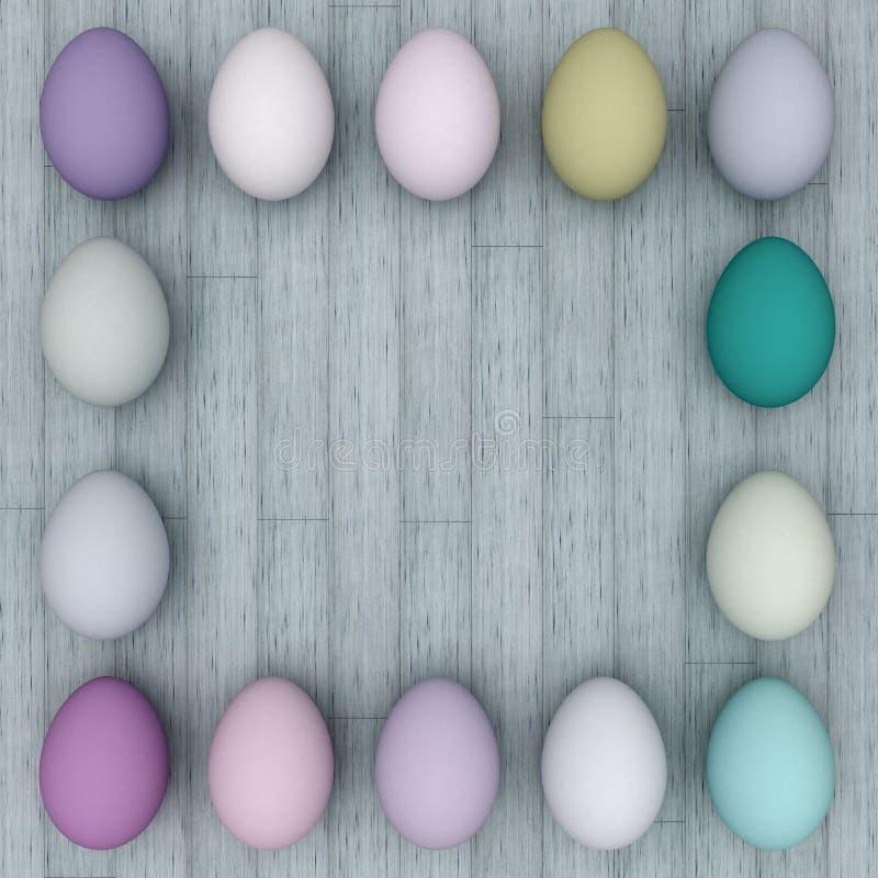 Quadro dos ovos da páscoa em um fundo de madeira claro Copie o espaço ilustração royalty free