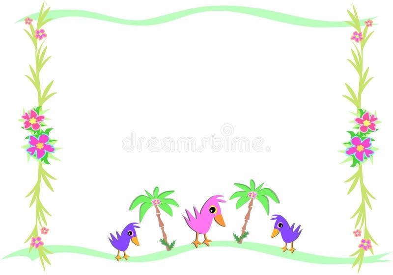 Quadro dos pássaros e palmas e plantas tropicais ilustração royalty free