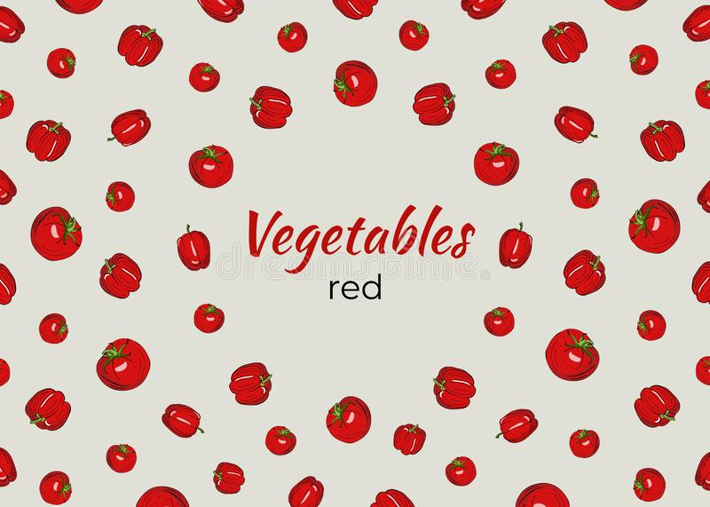 Quadro dos vegetais no vermelho em um fundo claro ilustração stock