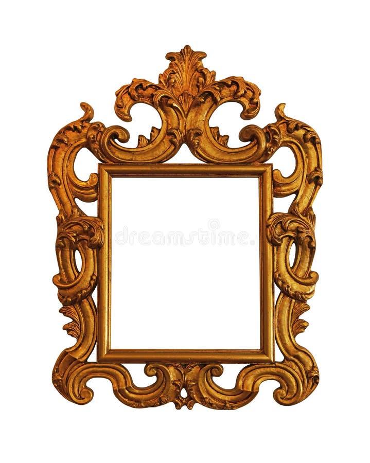 Quadro dourado antigo da imagem, da foto ou do espelho imagem de stock