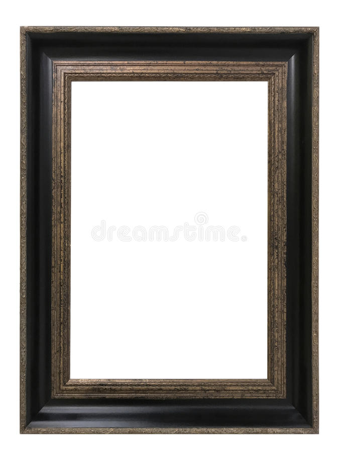 Quadro dourado antigo isolado no fundo branco com trajeto de grampeamento Arte europeia imagem de stock