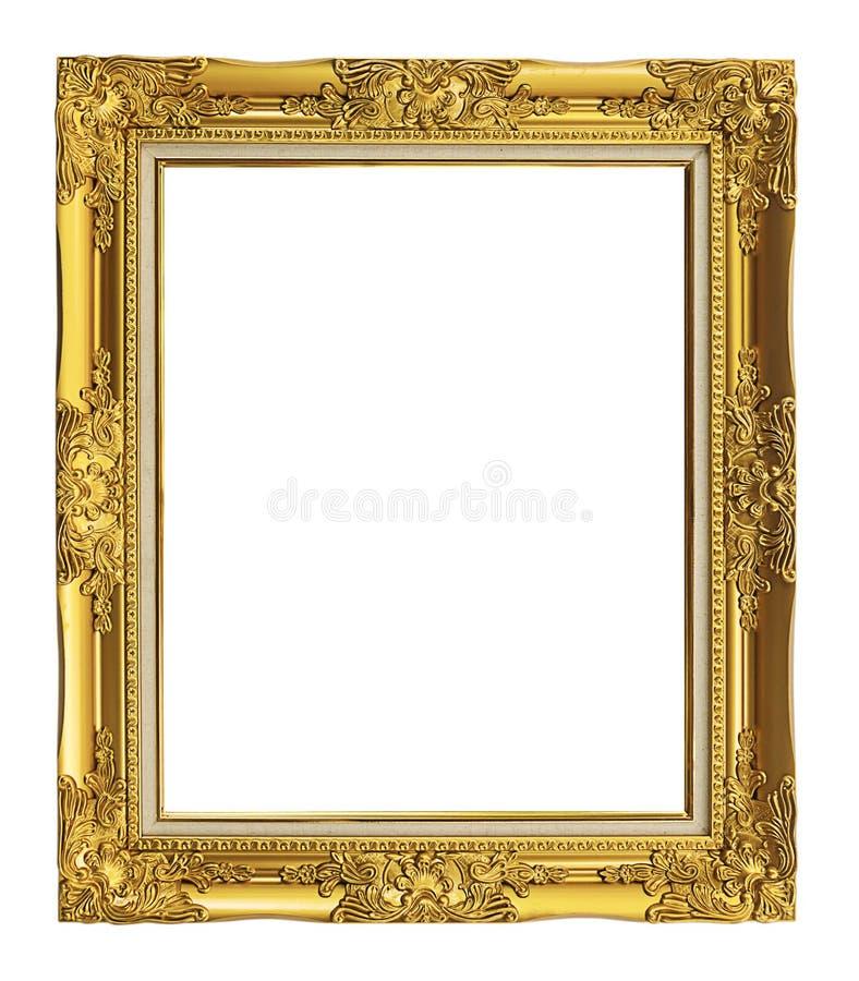 Quadro dourado antigo isolado no fundo branco, trajeto de grampeamento imagens de stock
