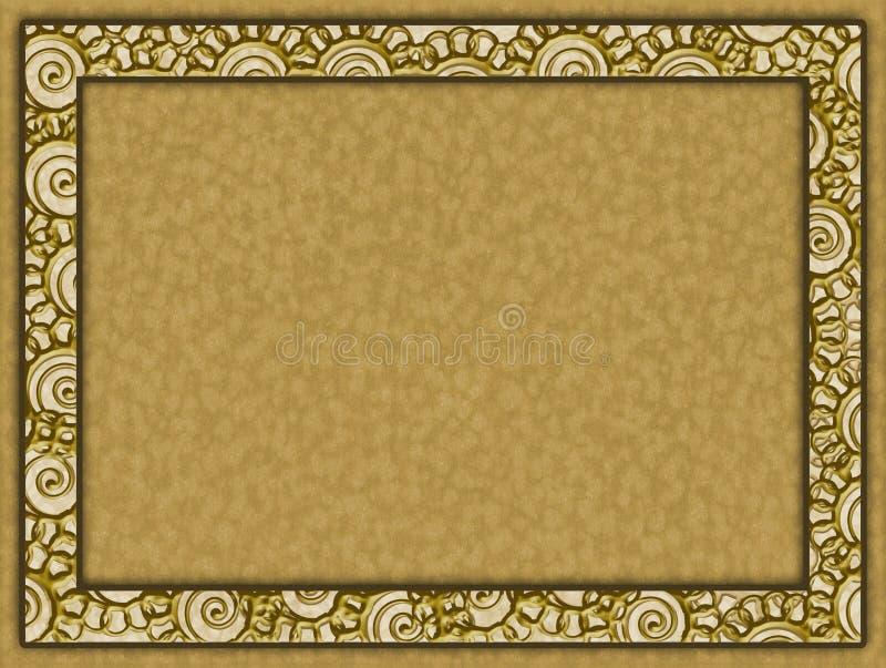 Quadro dourado com flores e fundo de papel ilustração stock