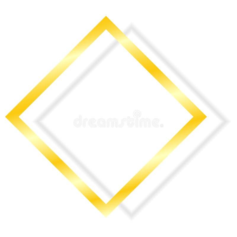 Quadro dourado com a sombra isolada no fundo branco Molde do elemento do vetor para seu projeto ilustração royalty free