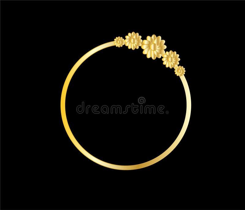 Quadro dourado do círculo com ornamento da flor ilustração stock