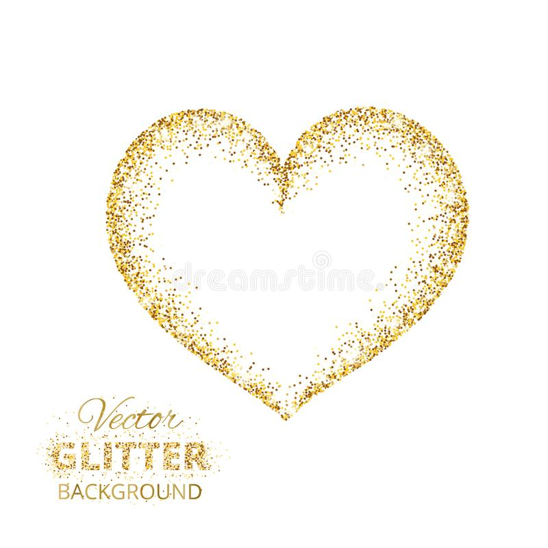 Quadro dourado do coração do brilho com espaço para o texto Poeira dourada do vetor isolada no branco ilustração do vetor
