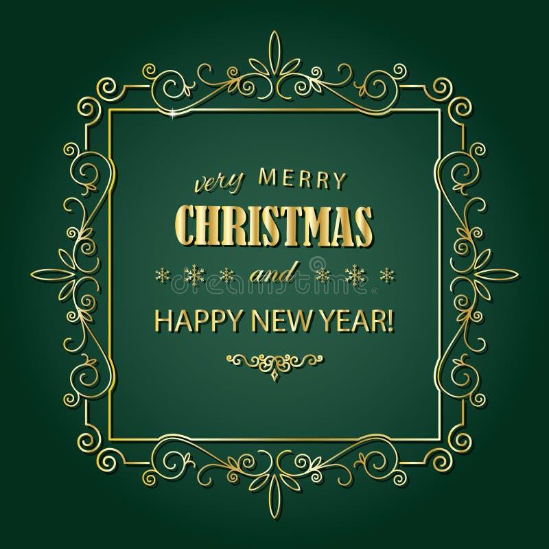 Quadro dourado do Natal do vintage O Feliz Natal e o ano novo feliz desejam o projeto de cartão no estilo retro ilustração stock
