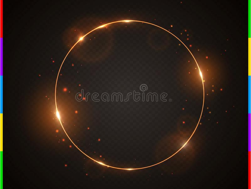 Quadro dourado do vetor com o alargamento e as faíscas do efeito da luz Brilho em volta da bandeira do Natal Anel do fulgor em tr ilustração do vetor