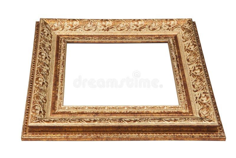 Quadro dourado do vintage com espaço vazio. Vista do lado. foto de stock