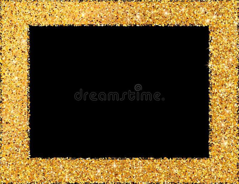 Quadro dourado no fundo escuro Frame ou beira decorativa Gol ilustração royalty free