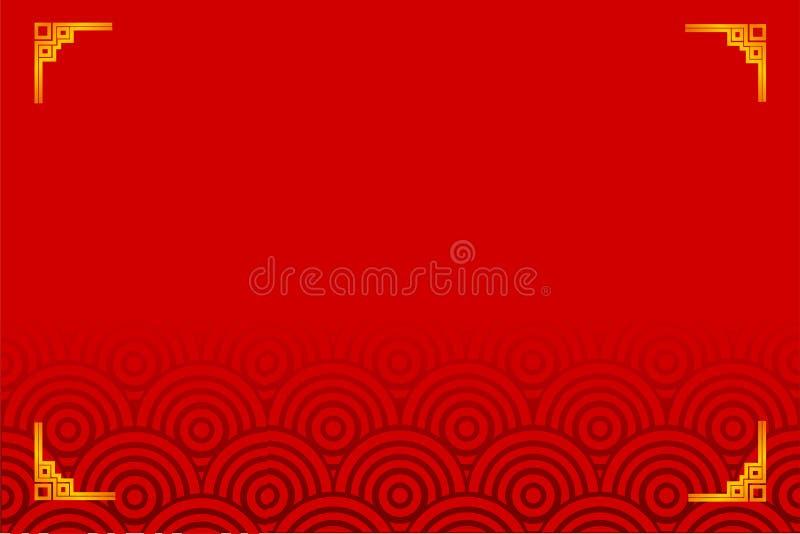 Quadro dourado para o certificado, o cartaz, o contexto, e o momento chinês do ano novo, fundo gradual vermelho ilustração do vetor