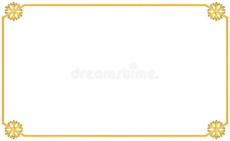 Quadro dourado simples com o floco de neve do elemento quatro de canto Ano novo e ilustração do Natal Beira volumétrico do ouro d ilustração do vetor