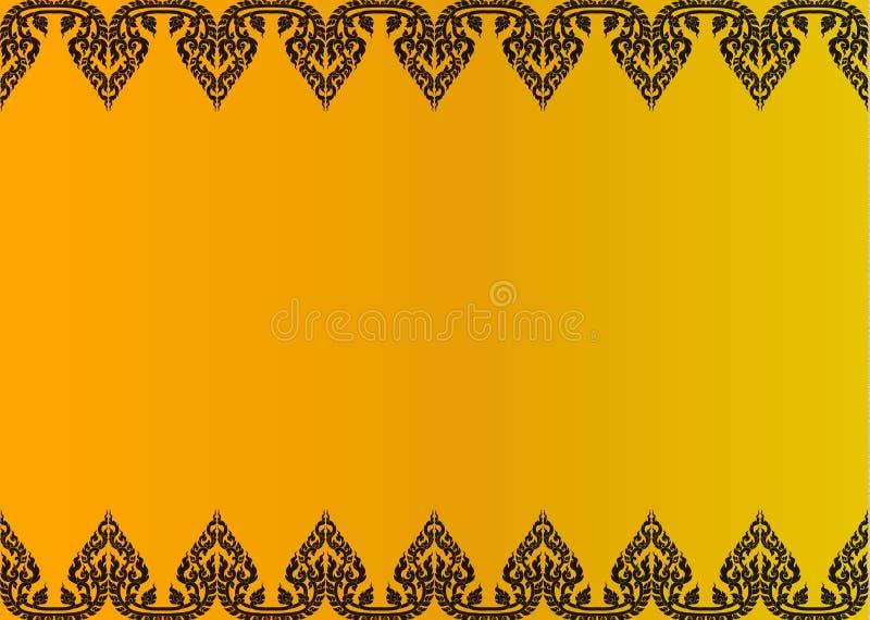 Quadro dourado tailandês do fundo do sumário do vetor do teste padrão do vintage ilustração stock