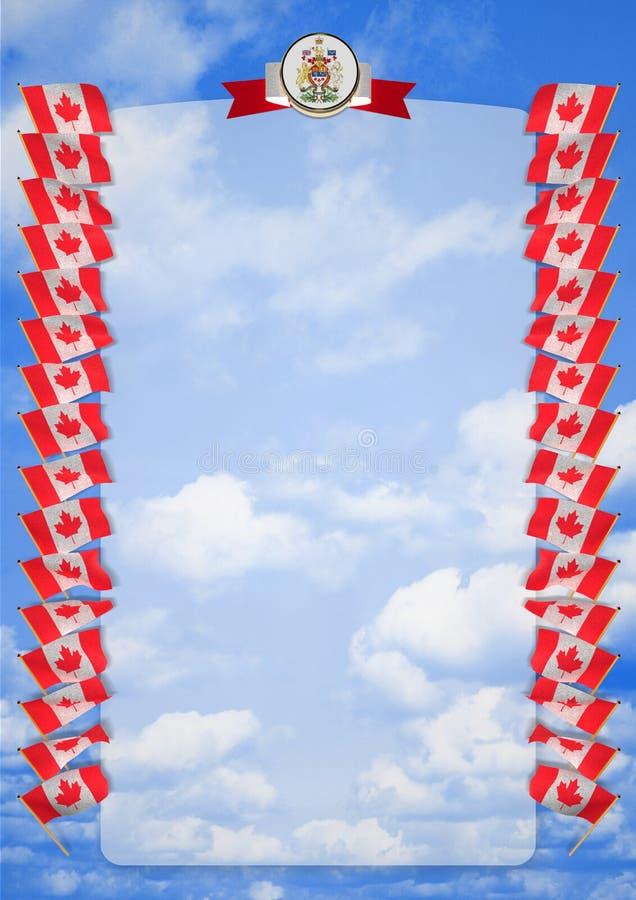 Quadro e beira com bandeira e brasão Canadá ilustração 3D ilustração royalty free