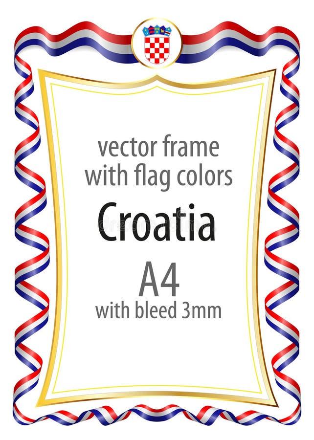 Quadro e beira com a brasão e fita com as cores da bandeira da Croácia ilustração do vetor