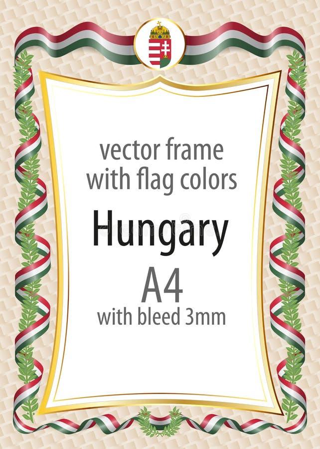 Quadro e beira com a brasão e fita com as cores da bandeira de Hungria ilustração do vetor