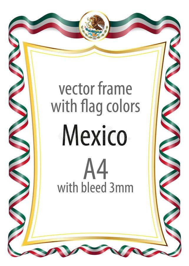 Quadro e beira com a brasão e fita com as cores da bandeira de México ilustração do vetor