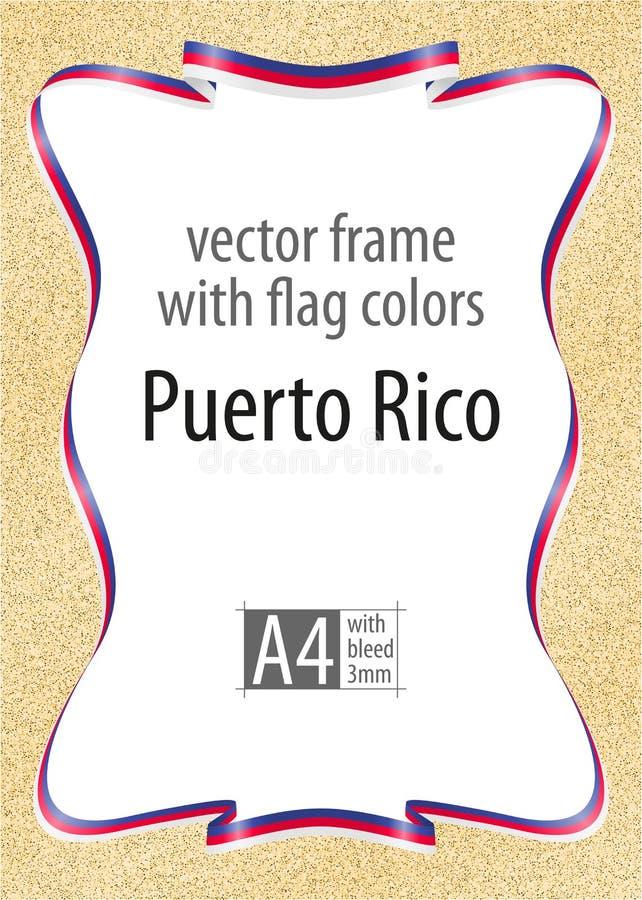 Quadro e beira da fita com as cores da bandeira de Porto Rico, elementos do molde para seu certificado e diploma Vetor, wi ilustração stock