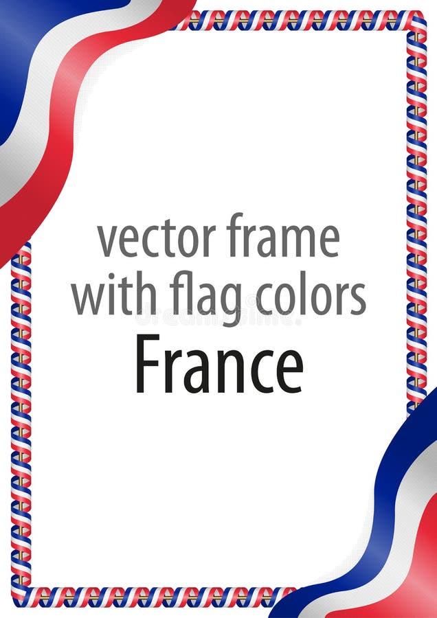 Quadro e beira da fita com as cores da bandeira de França ilustração stock