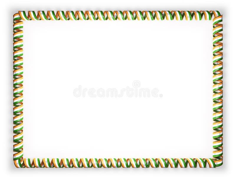 Quadro e beira da fita com a bandeira da Índia, afiando da corda dourada ilustração 3D ilustração stock