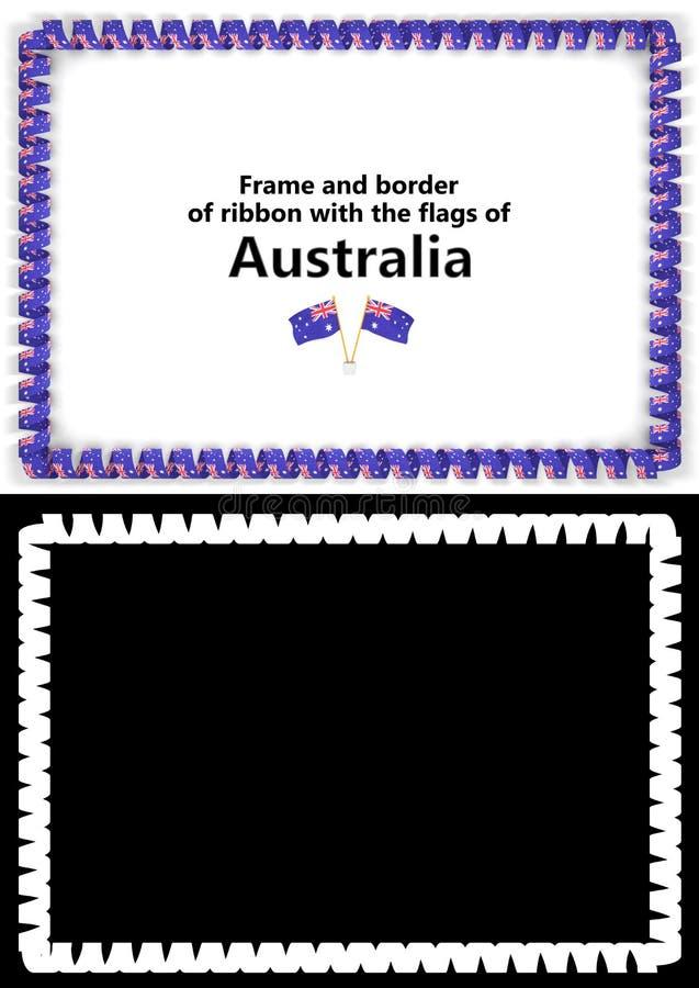 Quadro e beira da fita com a bandeira de Austrália para diplomas, felicitações, certificados Alpha Channel ilustração 3D ilustração royalty free