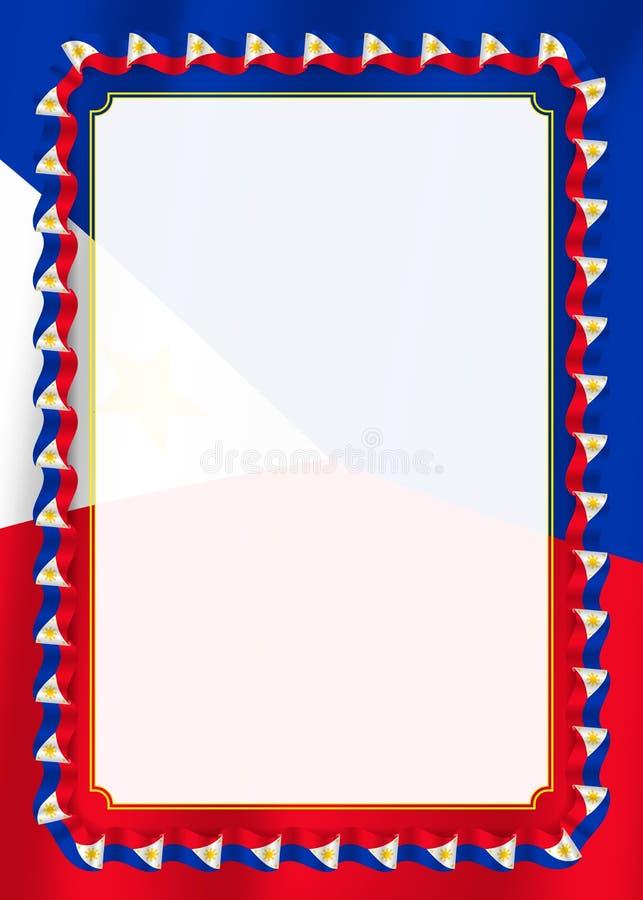 Quadro e beira da fita com bandeira de Filipinas, elementos do molde para seu certificado e diploma Vetor ilustração royalty free