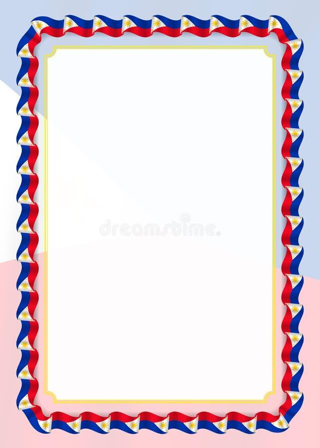 Quadro e beira da fita com bandeira de Filipinas, elementos do molde para seu certificado e diploma Vetor ilustração do vetor
