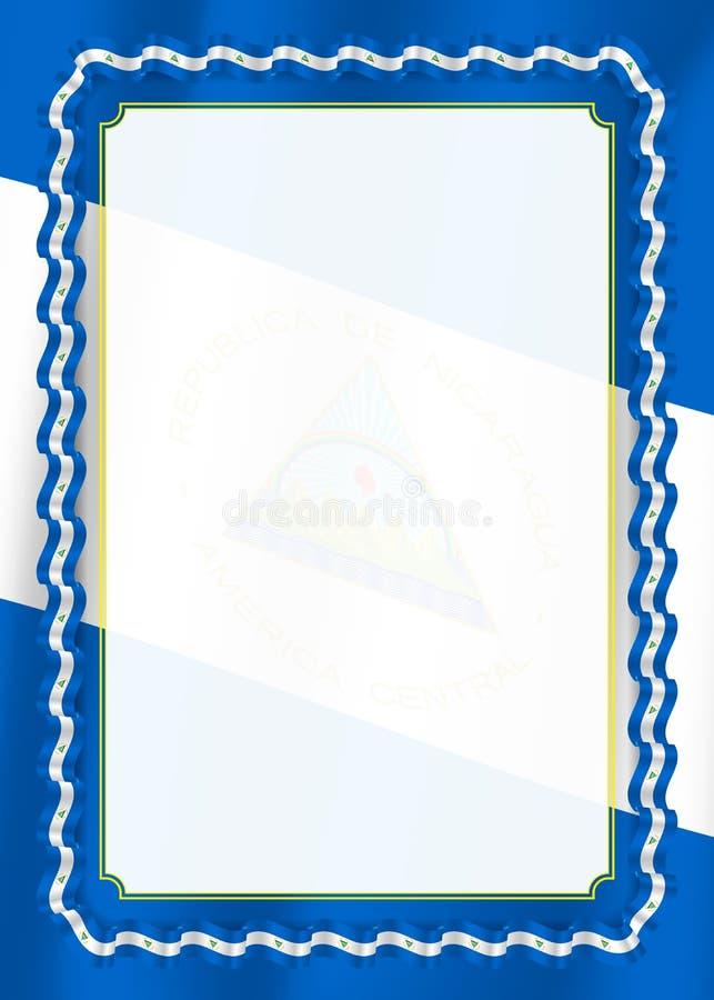 Quadro e beira da fita com bandeira de Nicarágua, elementos do molde para seu certificado e diploma Vetor ilustração royalty free