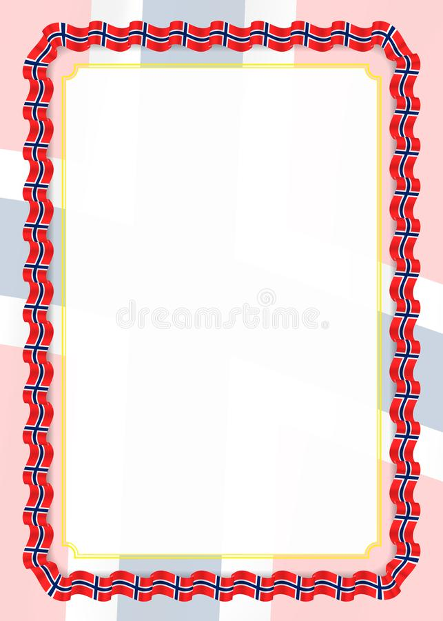 Quadro e beira da fita com bandeira de Noruega, elementos do molde para seu certificado e diploma Vetor ilustração royalty free