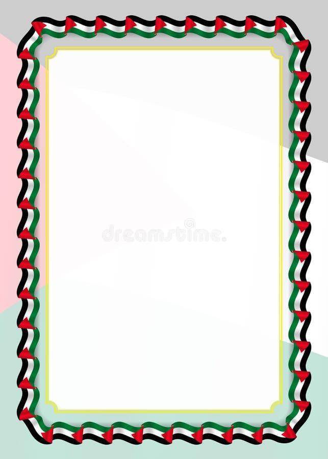 Quadro e beira da fita com bandeira de Palestina, elementos do molde para seu certificado e diploma Vetor ilustração do vetor