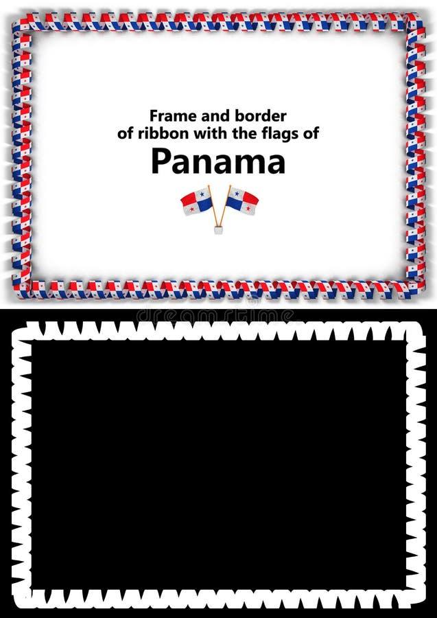 Quadro e beira da fita com a bandeira de Panamá para diplomas, felicitações, certificados Alpha Channel ilustração 3D ilustração royalty free