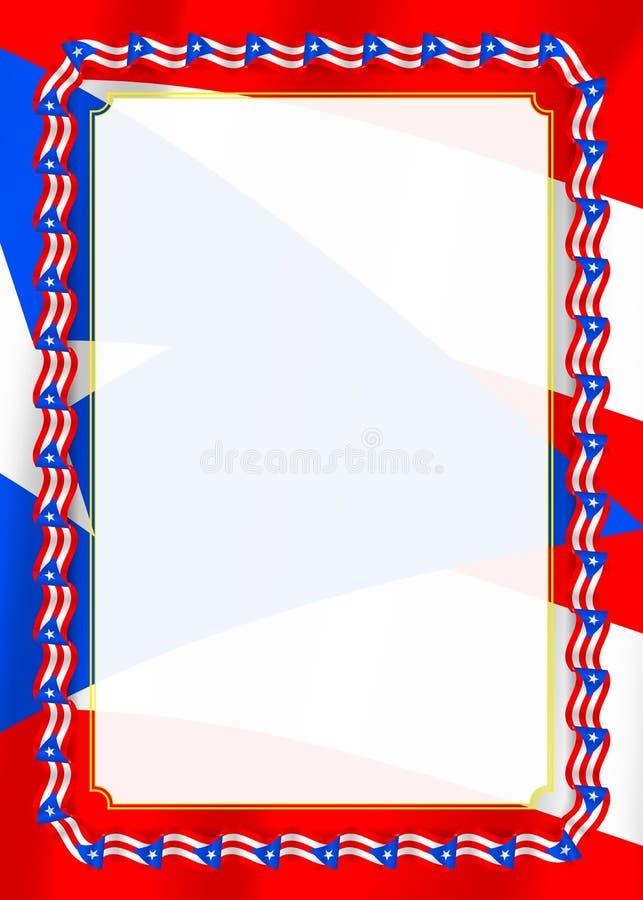 Quadro e beira da fita com bandeira de Porto Rico, elementos do molde para seu certificado e diploma Vetor ilustração stock