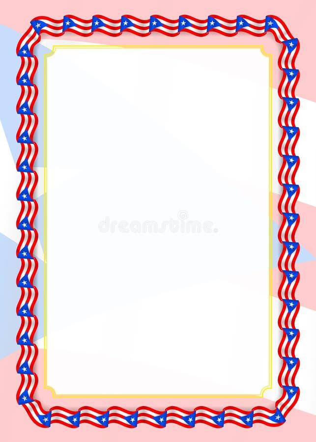Quadro e beira da fita com bandeira de Porto Rico, elementos do molde para seu certificado e diploma Vetor ilustração royalty free