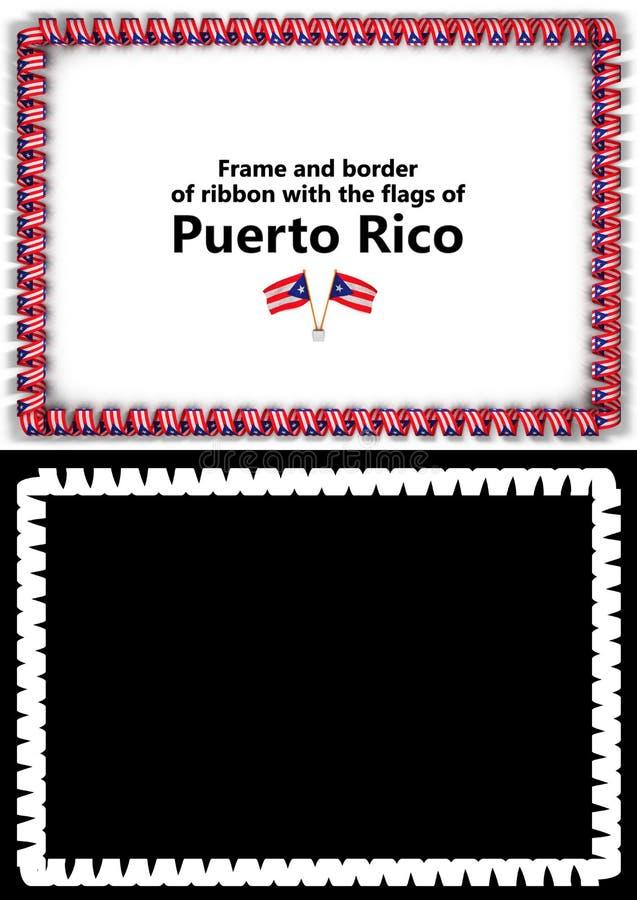 Quadro e beira da fita com a bandeira de Porto Rico para diplomas, felicitações, certificados Alpha Channel ilustração 3D ilustração stock