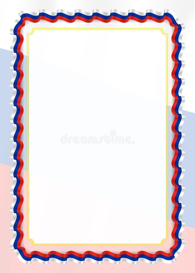 Quadro e beira da fita com bandeira de Rússia, elementos do molde para seu certificado e diploma Vetor ilustração do vetor