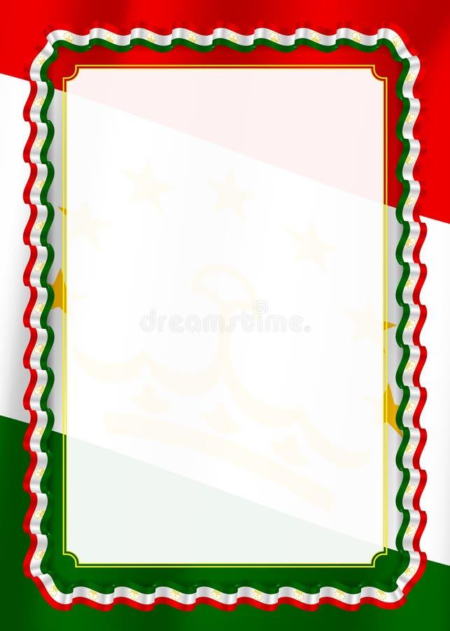 Quadro e beira da fita com bandeira de Tajiquistão, elementos do molde para seu certificado e diploma Vetor ilustração do vetor