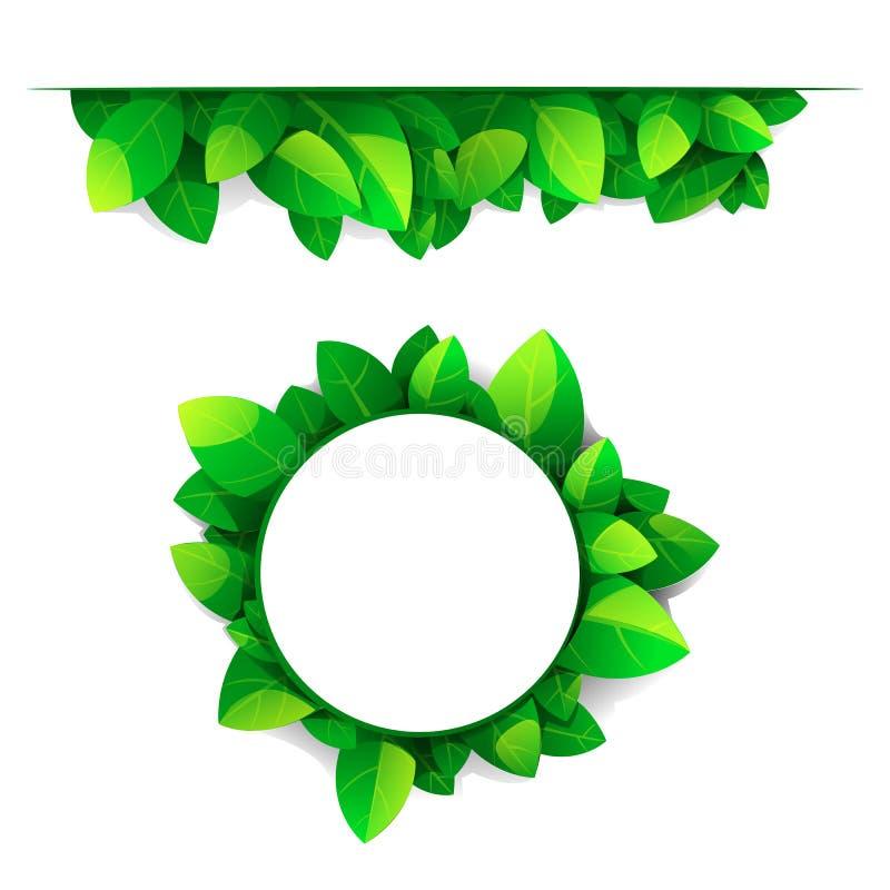 Quadro e beira das folhas verdes ilustração royalty free