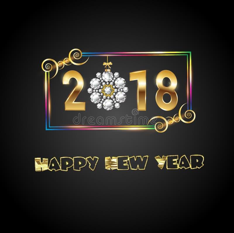 Quadro e diamantes do ouro do ano 2018 novo feliz ilustração royalty free