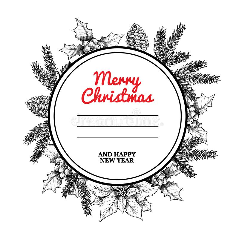 Quadro e grinalda do círculo do Natal com as plantas tiradas mão do inverno Ramos do abeto, cones do pinho, visco e poinsétia Gra ilustração stock