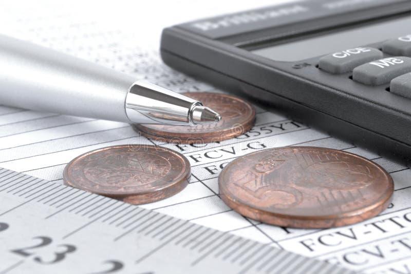 Quadro e moedas imagem de stock royalty free