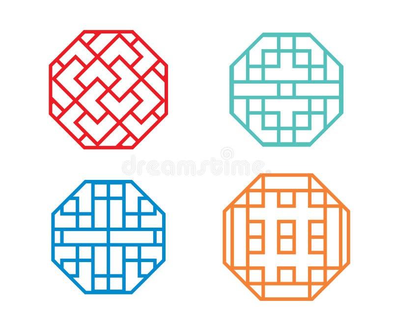 Quadro e símbolo chineses de janela do octógono no vetor ilustração royalty free