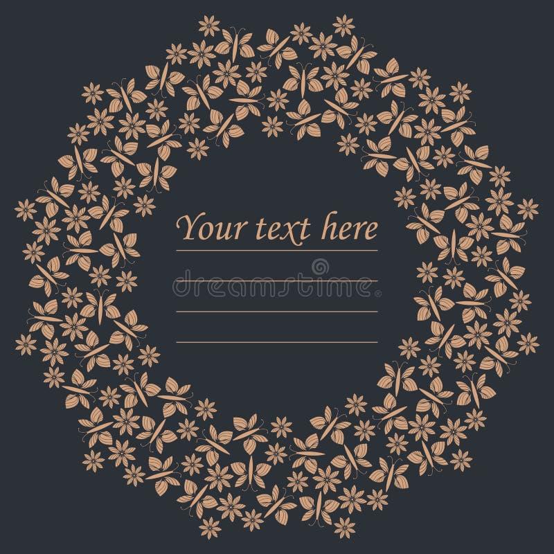 Quadro elegante do círculo com flores e borboletas ilustração royalty free