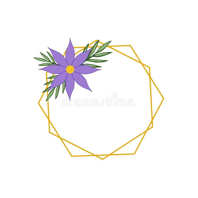 Quadro elegante do hexágono do ouro com a flor e as folhas da clematite roxa ilustração stock