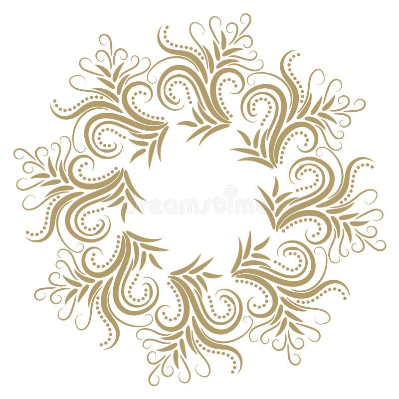 Quadro encaracolado abstrato do ouro com os pontos isolados ilustração do vetor