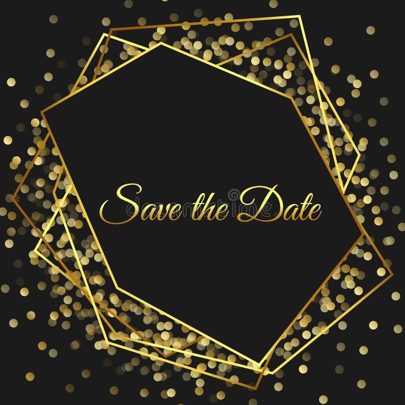 Quadro escuro à moda do projeto geométrico Linha beiras dourada Convite moderno Cartão quadrado do art deco Luxo e vagabundos pre ilustração royalty free
