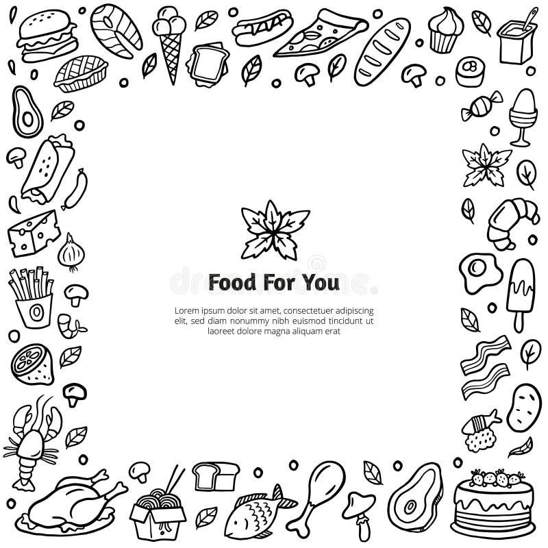 Quadro estilizado do alimento desenhado à mão Ilustração preto e branco da garatuja com muitos pratos diferentes ilustração stock