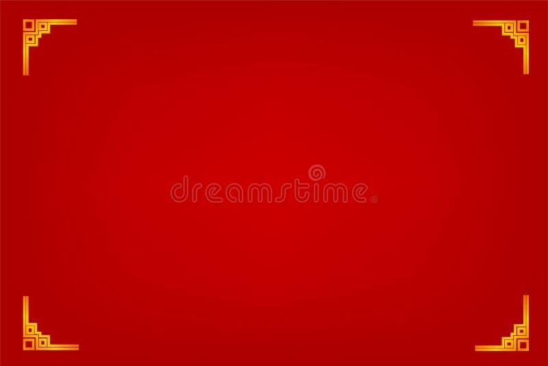 Quadro, estilo dourados da porcelana, para o certificado, o cartaz, o contexto, e o outro, fundo gradual vermelho ilustração stock
