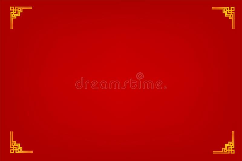 Quadro, estilo dourados da porcelana, para o certificado, o cartaz, o contexto, e o outro, fundo gradual vermelho ilustração do vetor