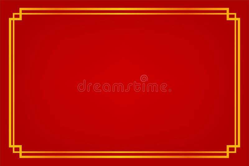 Quadro, estilo dourados da porcelana, para o certificado, o cartaz, o contexto, e o outro, fundo gradual vermelho ilustração royalty free